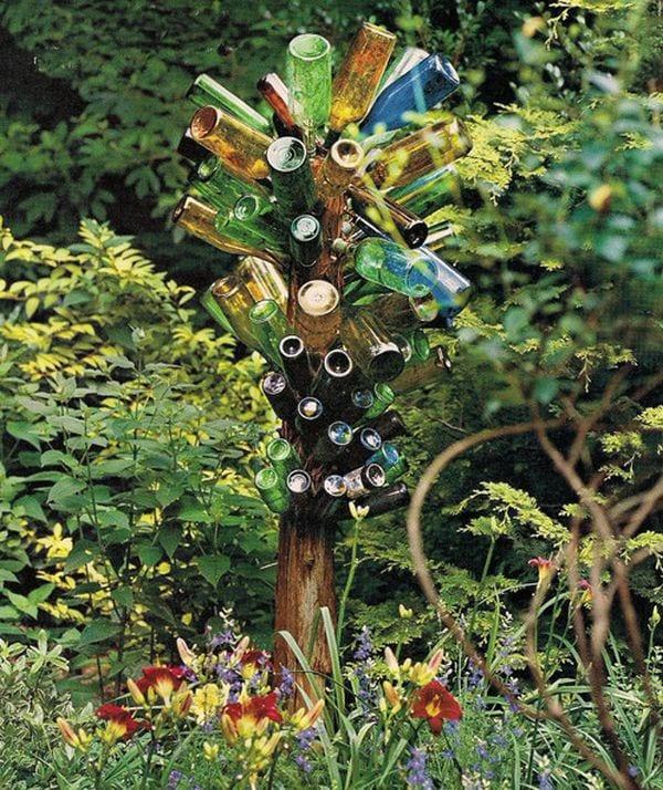 bauerngarten gestalten mit zierblumen und DIY Gartendeko