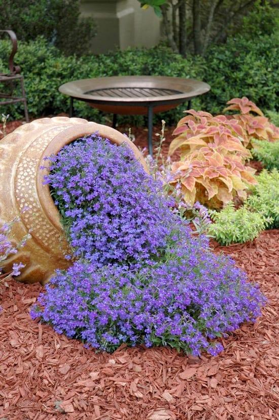 interessante Gartendeko mit blauen blumen
