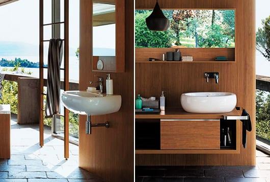 modernes badezimmer mit modulwand aus holz