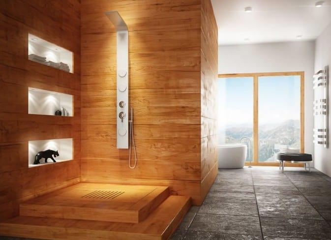 coole badezimmer inspiration mit holzdusche und wandnischen mit beleuchtung