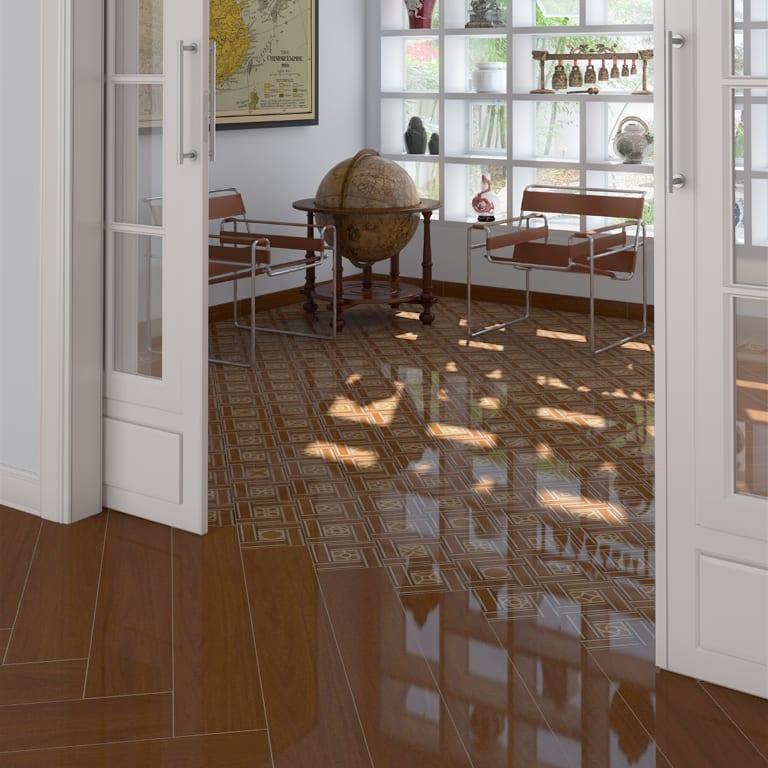 modernes Interior design in weiß mit bodenfliesen broun in holzmuster