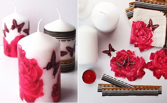 basteln mit Papierservietten für DIY Kerzendeko