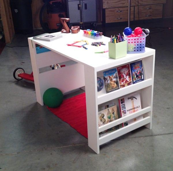 DIY Kinder Schreibtisch weiß mit seitlichen regalen