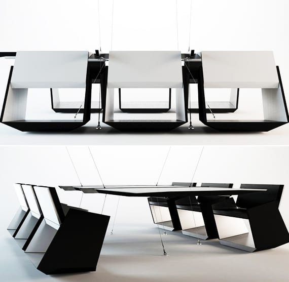 moderner Besprechungstisch mit designerstühlen schwarz weiß