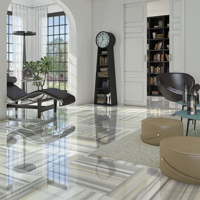 modernes wohnzimmer einrichten mit marmorfliesen in grün und grau