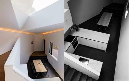 Mezzanine Wohnung mit dreieckiger kleinen Küche Weiß und Oberlicht in Dreieckform