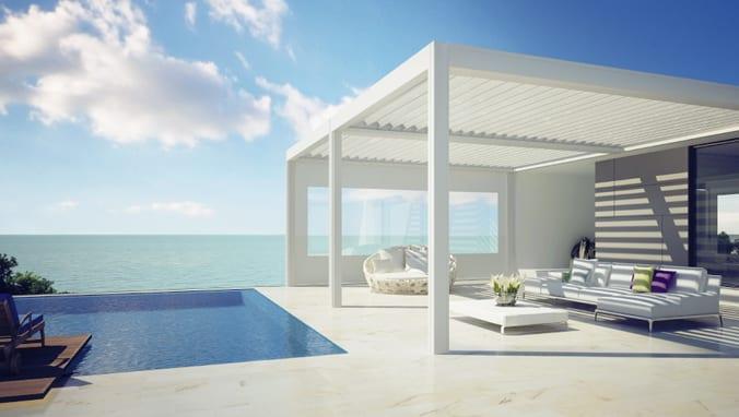 weiße terrassenüberdachung für moderne terrassen in weißem interior