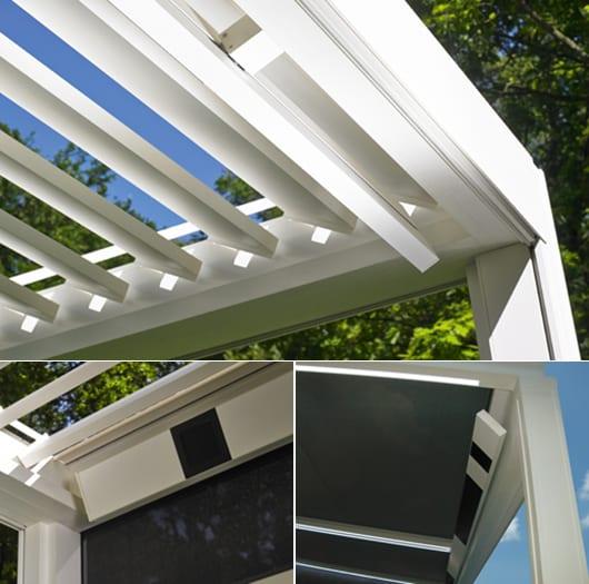 Terrassengestaltung mit rotierenden Lamellen und integrierten Lautsprecher und Heizung