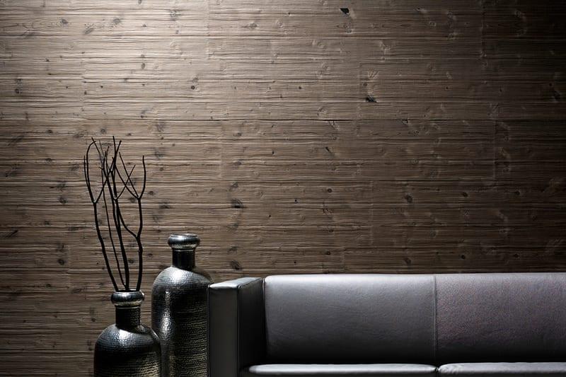 luxus Interior mit wandverkleidung aus Antikholzpaneelen
