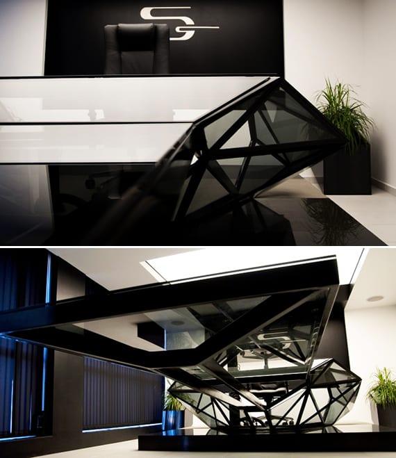 luxus Besprechungstisch und Büroschreibtisch schwarz mit glastischplatte