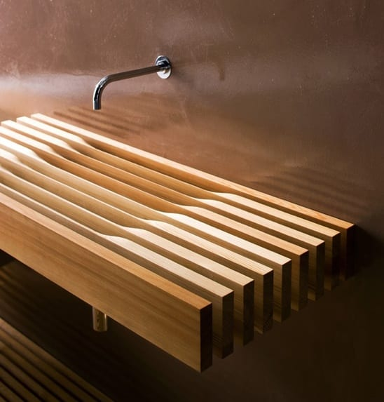 wandfarbe braun für farbgestaltung badezimmer mit holzwaschtisch
