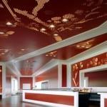 kreative Raumgestaltung mit wandfarbe rot und deckengestaltung mit deckenbeleuchtung