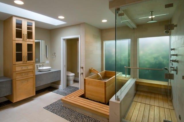 badezimmer mosaik als bodenbelag und dusche mit holzboden