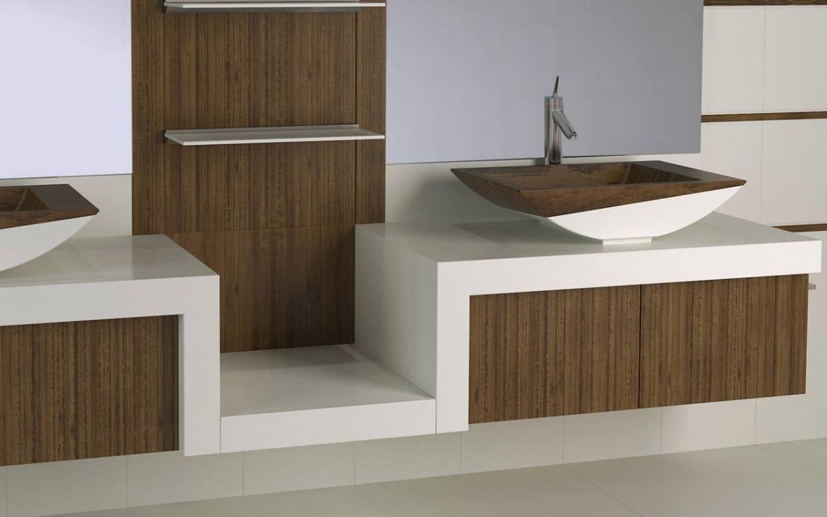 schicke einrichtung für modernes badezimmer mit waschbecken aus holz und keramik