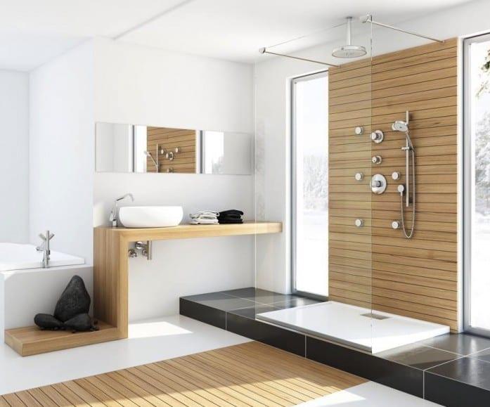 luxus badezimmer gestalten mit Glaswand und holzwaschtisch