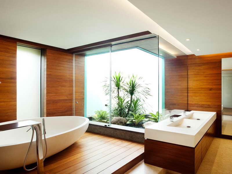 luxus badezimmer holz mit freistehende badewanne weiß und waschtisch mit unterschrank aus holz