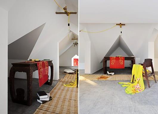 modernes-wohnzimmer-inspirationen-mit-deckengestaltung-in-Origamiform-und-farbgestaltung-mit-akzent-in-gelb-und-rot