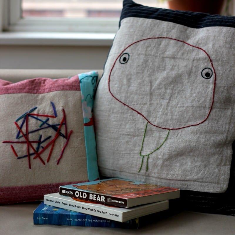 bastelideen für DIY Kissenbezug mit Nähenmotiven