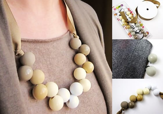 schicke Halskette aus Haargummi mit Kugeln als coole Bastelidee