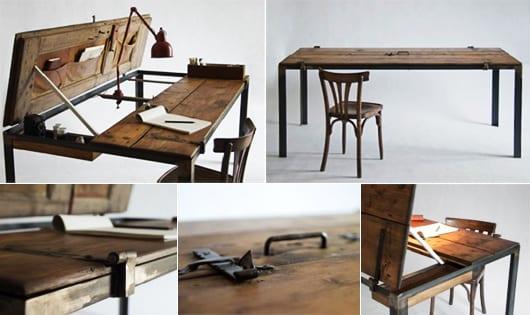 coole Einrichtungsidee mit DIY Schreibtisch rustikal aus alter zweiflügeltür