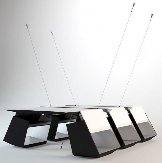 luxus Besprechungstisch schwarz weiß mit ausgehängten Tischplatten und Designerstühlen