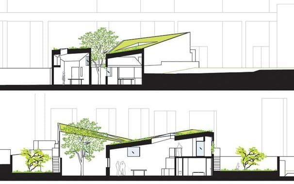 schnitte durch die dreieckigen Häusern von vPPR Architekten