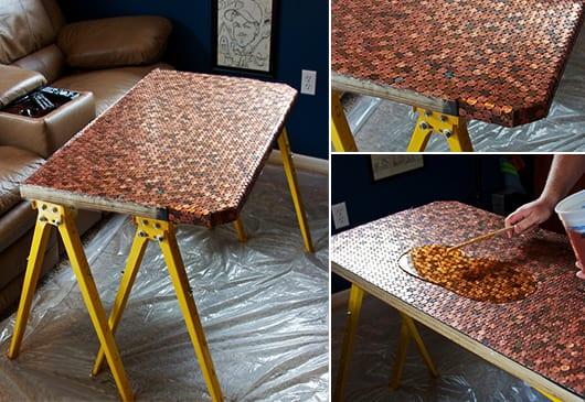 coole idee für DIY Schreibtisch mit Holzplatte und munzenoberfläche