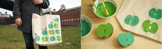 kreative Geschenkidee für DIY Stofftasche Dekoration mit Apfelabdruck