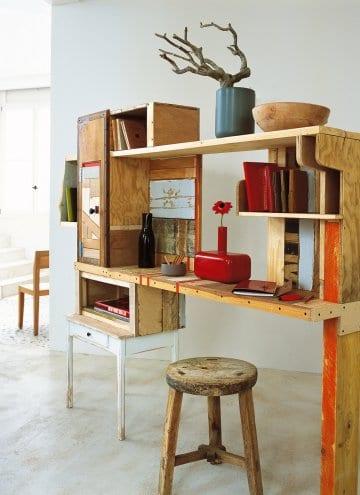 Schreibtisch mit Regalen aus Holz selber bauen