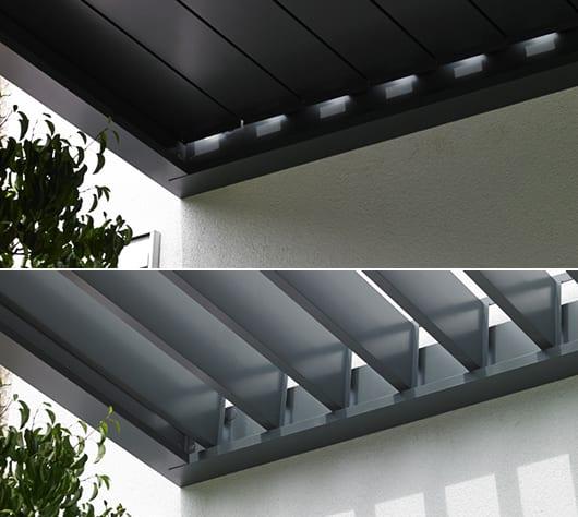 moderne Terrassenüberdachung mit Sonnenschutzlamellen für coole Gartengestaltung