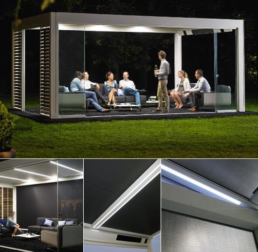 coole gartengestaltung mit Terrassenüberdachung und LED Beleuchtung