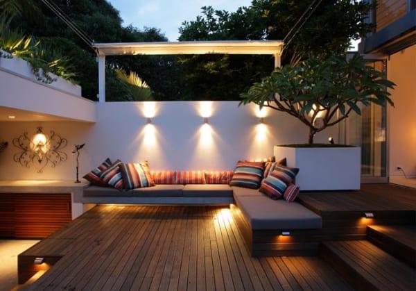 terrasse garten mit gartenbeleuchtung und sitzecke terrasse als traumgarten einer luxus Wohnung