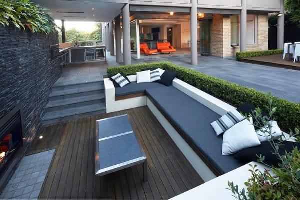 mein schöner garten mit Terrasse und sitzecke mit außenkamin