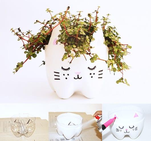 DIY Katzentopf aus PET-Flaschen