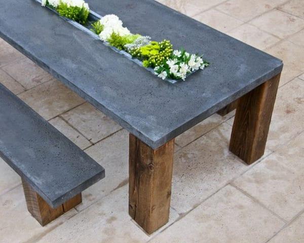 DIY Gartenmöbel aus Holz und Beton für coole Garteneinrichtung