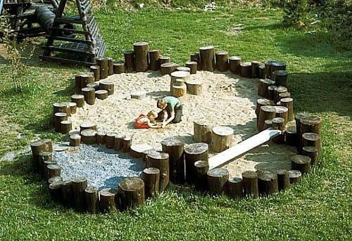 sandkasten mit rundholz bauen