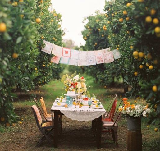 holzesstisch eindecken mit weißer tischdecke und Orangen als gartenparti idee