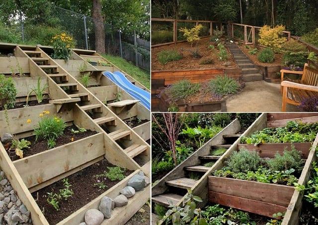 DIY Gartentreppe und DIY Garten aus Holz
