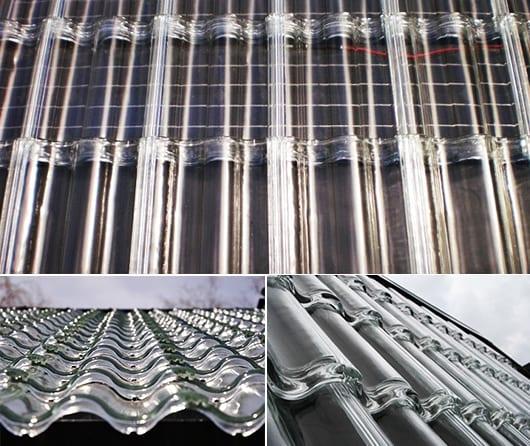 modernes Dach mit Solarzellen und Glasziegeln