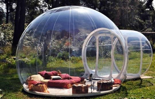 schlafen unter sternen im bubble zelt freshouse. Black Bedroom Furniture Sets. Home Design Ideas