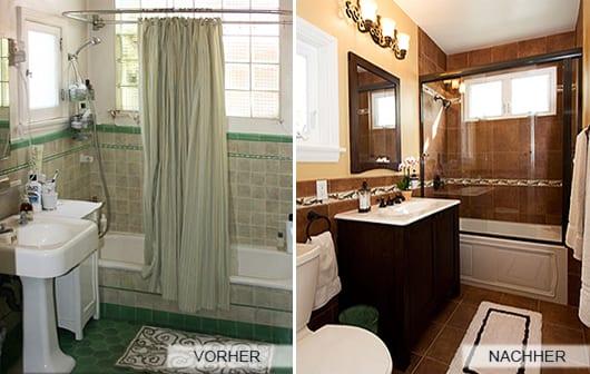 kleines badezimmer braun oder in grün_badewanne mit dusche und glaswand