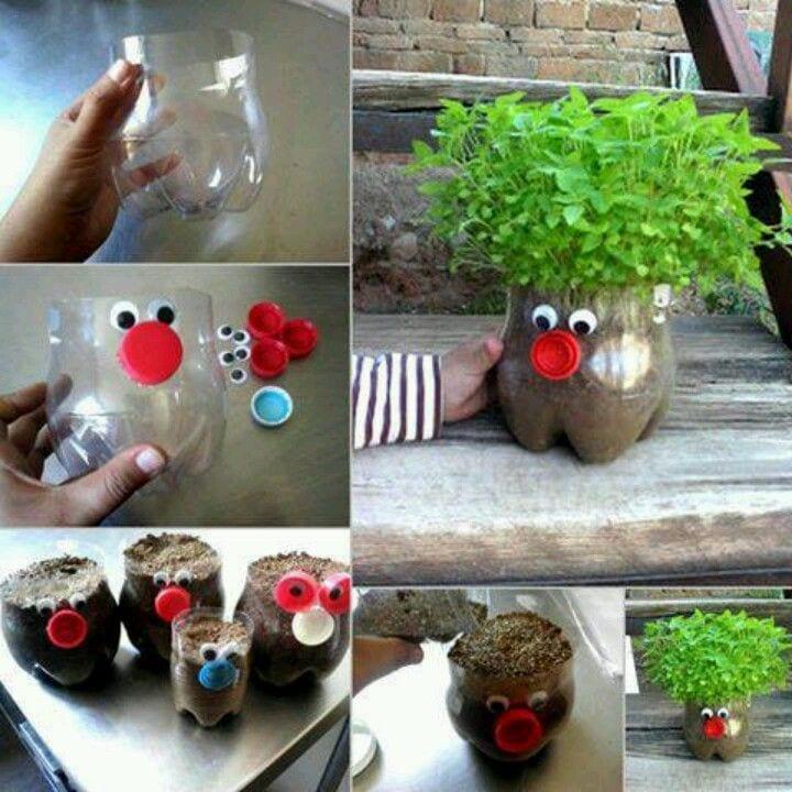 Bastelidee mit rezyklierten PET-Flaschen für coole DIY Kreutergarten