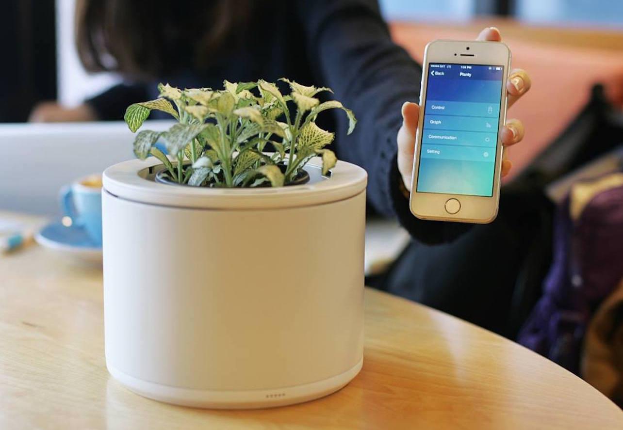 coole Idee für Zimmerpflanzen mit dem modernen Blumentopf mit Wi-fi