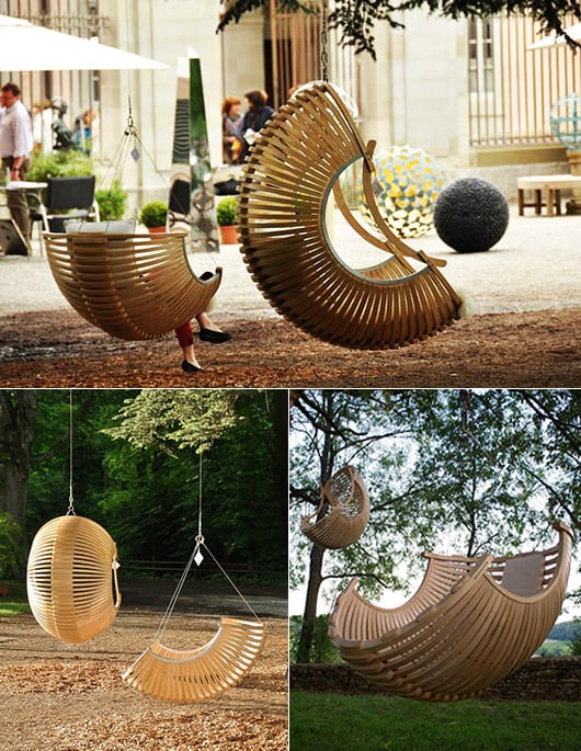 kreative Gartengestaltung mit Hängesessel Korb