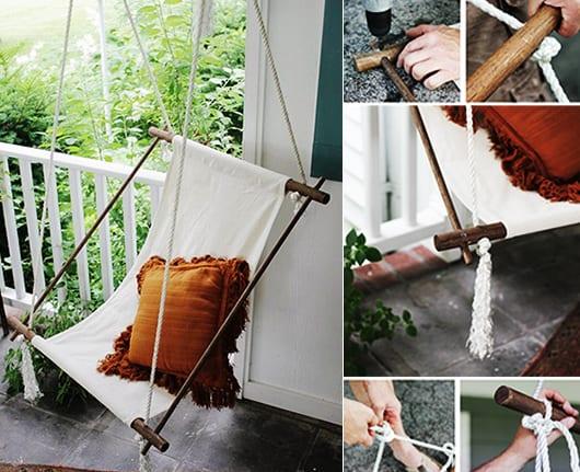 Hängesessel selber bauen aus runden holzstäbchen und textil