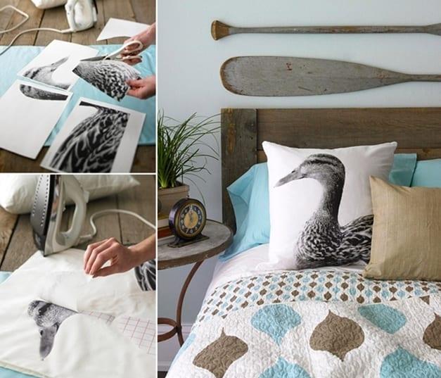 coole bastelidee für DIY Kissen mit Dekoration durch Bügelpapier