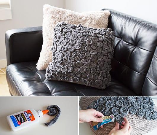 kreative idee für DIY Kissen in grau mit DIY rosen