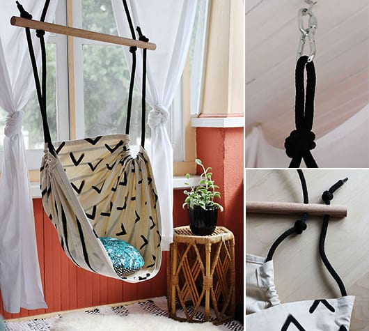ideen für selbstgemachte schaukel aus textil