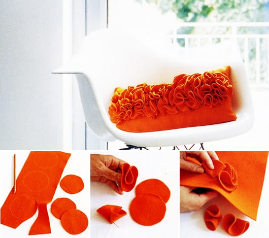 DIY Kissenbezung orange nähen