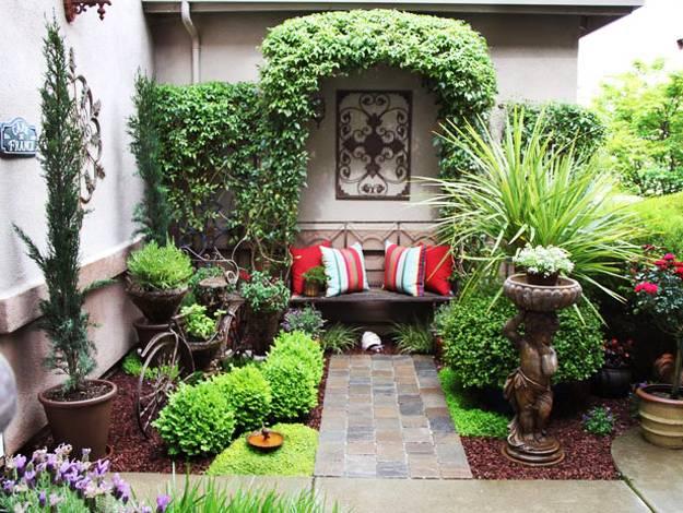 traumgarten gestalten mit gartendeko und gartenbank